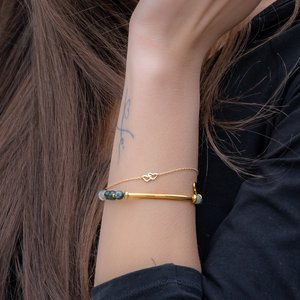 Bracelet Stainless Steel PVD-coating (gold color) Agate Love Affection
