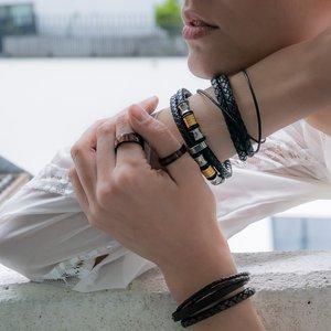 Bracelet Leather Stainless Steel Eternal Loop Eternity