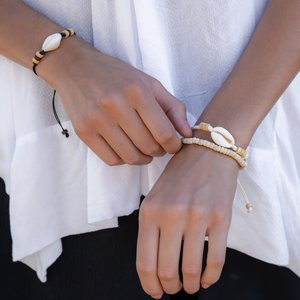Armband Muschel Nylon Holz