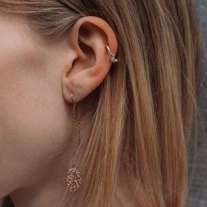 Clip orecchio Acciaio inox Rivestimento PVD (colore oro) Cristallo Onda