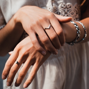 Bague de doigt Acier inoxydable Triangle