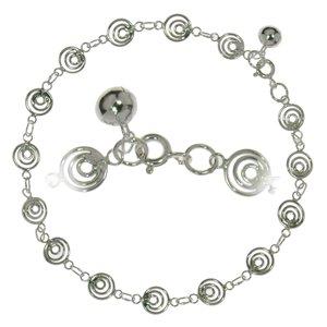 Pulsera de tobillo Plata 925 Espiral Campana Campanita