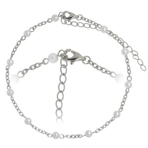 Anklet Steel Synthetic Pearls