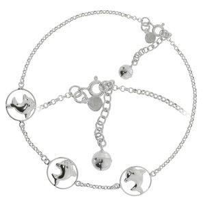 Fusskettchen Silber 925 Delphin Delfin Glocke Glöckchen