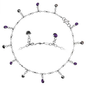 Anklet Silver 925 Crystal Bell