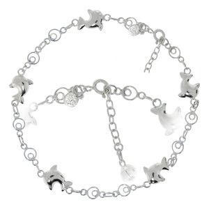 Anklet Silver 925 Dolphin Bell