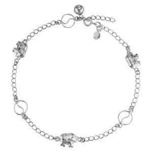 Fusskettchen Silber 925 Ganesha Elefant Glocke Glöckchen