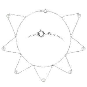 Anklet Silver 925 Synthetic Pearls Triangle