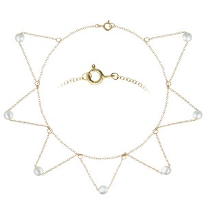 Anklet Silver 925 Synthetic Pearls Gold-plated Triangle