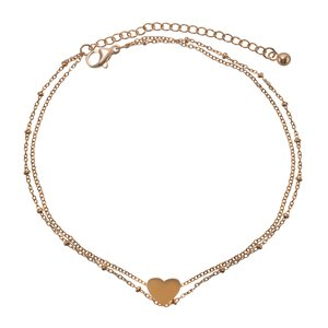 Anklet Stainless Steel PVD-coating (gold color) Heart Love
