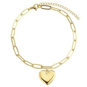 enkelbandjes Staal PVD laag (goudkleurig) hart liefde
