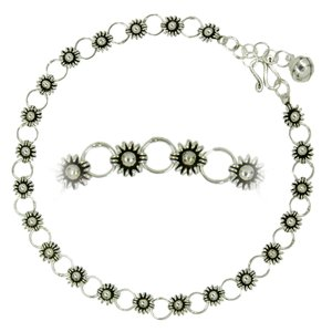 Fusskettchen Silber 925 Blume Glocke Glöckchen