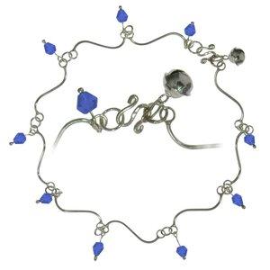Anklet Silver 925 Crystal Wave