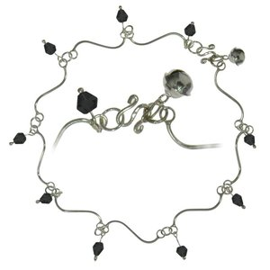 Fusskettchen Silber 925 Kristall Welle