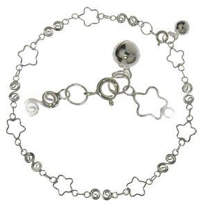 Pulsera de tobillo Plata 925 Estrella Espiral Campana Campanita
