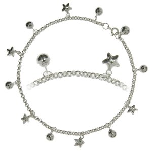 Anklet Silver 925 Star Bell