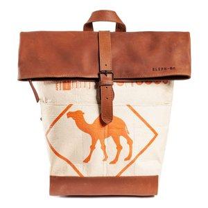 elephbo Tasche Recycelter Zementsack aus gewebtem Kunststoff Pflanzlich gegerbtes Rindsleder Tierfell Tiermuster Fellmuster