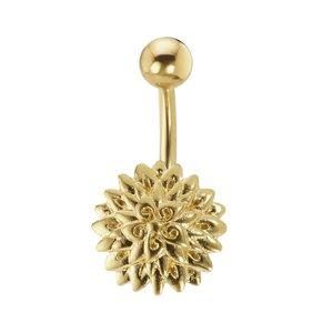 Piercing de ombligo Acero quirúrgico Latón al rodio Revestimiento PVD (color oro) Flor