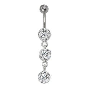 Piercing nombril Acier chirurgical 316L Argent 925 Cristal