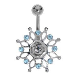 Bauchpiercing Silber 925 Chirurgenstahl 316L Kristall Ewig Schlaufe Endlos Tribal_Zeichnung Tribal_Muster Blume