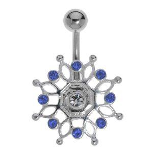 navelpiercing Chirurgisch staal 316L Zilver 925 Kristal eeuwig oneindig oneindigheid tribal_tekening tribal_patroon bloem