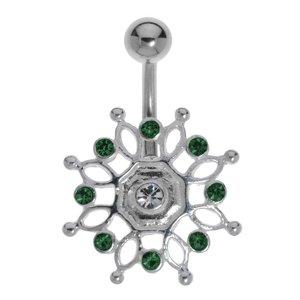Bauchpiercing Chirurgenstahl 316L Silber 925 Kristall Ewig Schlaufe Endlos Tribal_Zeichnung Tribal_Muster Blume
