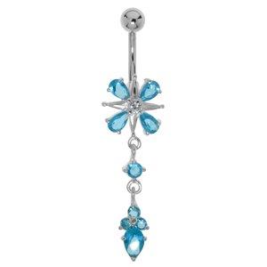 Bauchpiercing Chirurgenstahl 316L Silber 925 Zirkonia Blume Kreuz Tropfen Tropfenform Wassertropfen