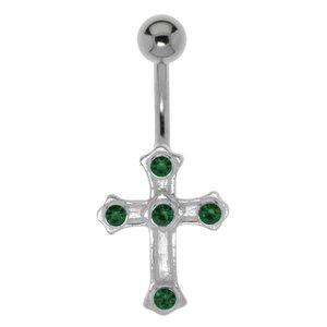 navelpiercing Chirurgisch staal 316L Zilver 925 Kristal kruis