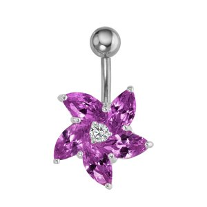 Bellypiercing Surgical Steel 316L Silver 925 zirconia Flower