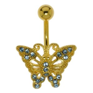 Bellypiercing Surgical Steel 316L PVD-coating (gold color) Brass Crystal Butterfly