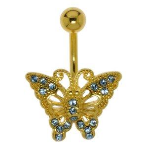 Piercing nombril Acier chirurgical 316L Revêtement d´or (doré) Cristal Papillon