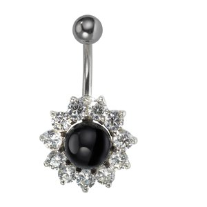 Bellypiercing Surgical Steel 316L Silver 925 Synthetic Pearls Crystal Flower