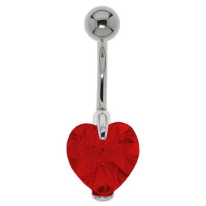 Bellypiercing Surgical Steel 316L Silver 925 Swarovski crystal Heart Love