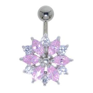 Piercing de ombligo Acero quirúrgico Plata 925 cristales de Swarovski Flor