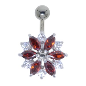 navelpiercing Chirurgisch staal 316L Zilver 925 Swarovski kristal bloem