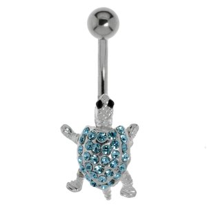 Bellypiercing Surgical Steel 316L Silver 925 Crystal Turtle Tortoise