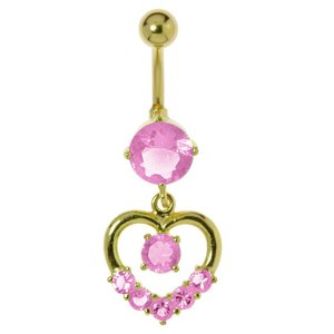 Bellypiercing Surgical Steel 316L Gold-plated Crystal Heart Love