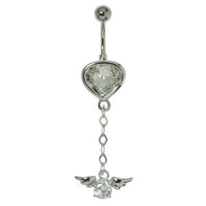 Bellypiercing Surgical Steel 316L Silver 925 Swarovski crystal Drop drop-shape waterdrop Wings