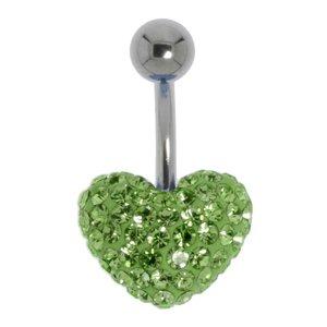 navelpiercing Chirurgisch staal 316L Kristal hart liefde