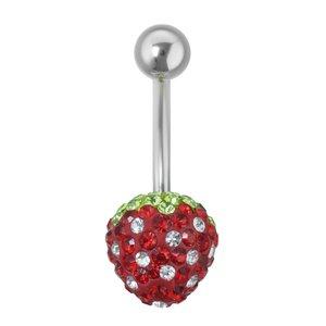 Bauchpiercing Chirurgenstahl 316L Kristall Erdbeere Erdbeerchen Beere