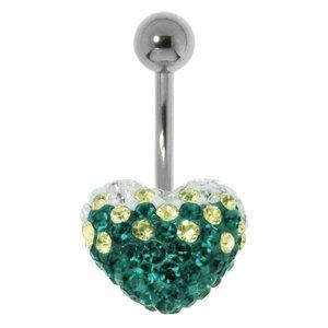 Piercing nombril Acier chirurgical 316L Cristal Coeur C?ur Amour