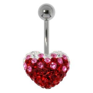 Piercing de ombligo Acero quirúrgico Cristal Corazón Amor