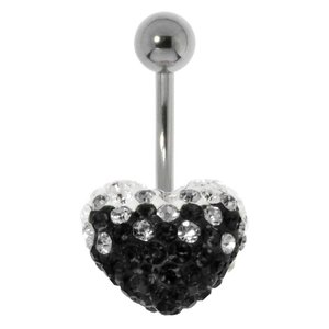 Bellypiercing Surgical Steel 316L Crystal Heart Love