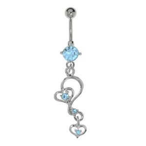 Bellypiercing Surgical Steel 316L Crystal Rhodium plated brass Heart Love