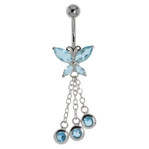 Bellypiercing Surgical Steel 316L zirconia Silver 925 Butterfly