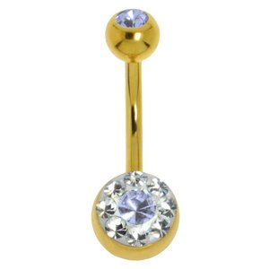 Bellypiercing Surgical Steel 316L Gold-plated Crystal