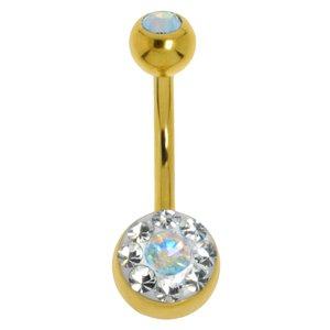 Piercing nombril Acier chirurgical 316L Revêtement d´or (doré) Cristal