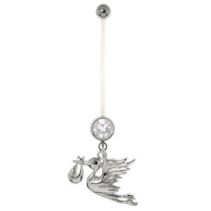 Pregnancy-piercing Surgical Steel 316L Crystal Bioplast steel-plated brass Eagle Bird Stork