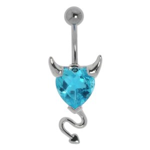 Bellypiercing Surgical Steel 316L Rhodium plated brass Crystal Devil