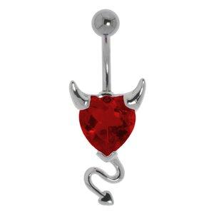 Piercing de ombligo Acero quirúrgico Latón al rodio Cristal Corazón_diablo Corazón_con_cuernos